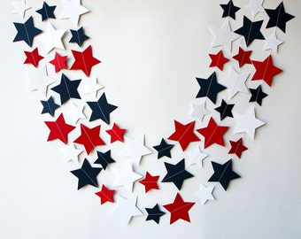 MA, Star garland, 4th of July garland, 4th of July decor, Red white blue, Paper garland, Patriotic decor, 4th of July banner, KE-0100