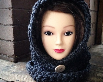 Adult Hooded Cowl - charcoal
