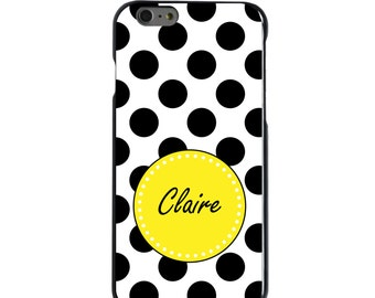 Hard Snap-On Case for Apple 5 5S SE 6 6S 7 Plus - CUSTOM Monogram - Any Colors -Black Yellow White Polka Dots