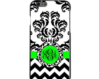 Hard Snap-On Case for Apple 5 5S SE 6 6S 7 Plus - CUSTOM Monogram - Any Colors - Black White Green Damask Chevron