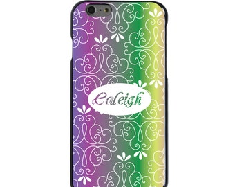 Hard Snap-On Case for Apple 5 5S SE 6 6S 7 Plus - CUSTOM Monogram - Any Colors - Blue Purple Green Pink Floral
