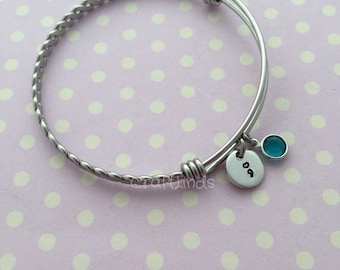 Twist bangle, bracelet, Hand Stamped heart semi colon charm, semicolon, Stainless Steel Expandable, Personalised, birthstone, birthmonth