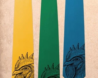 Chicken - Rooster Fowl Hen Bird - Screen Printed Mens Necktie