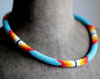 Native American Inspired Necklace, Handbeaded Necklace, Bead Crochet Necklace, Ethnic Style Beadwork, Folk Beadwork -MADE TO ORDER
