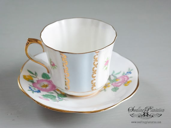 Vintage Tea Cup and Saucer, Set-Floral and Gold