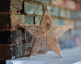 Natural Star Christmas Tree Topper Decoration- 12 inch star tree topper made from reclaimed wood