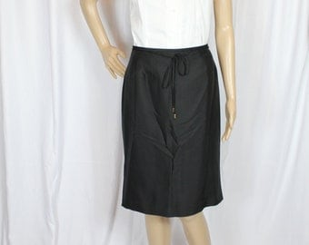 Black silk pencil skirt