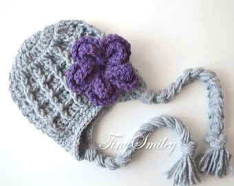 Earflap Baby Hat, Girl Earflap Hat, Gray Earflap Hat, Flower Earflap Hat, Gray Newborn Hat, Chunky Earflap Hat, Baby Girl Hat, Earflap Hats