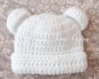 White Bear Hat, Newborn Bear Hat, Bear Photo Prop, Baby Hat with Ears, Animal Baby Hat, Teddy Bear Hat, White Teddy Bear Hat, Newborn Hats