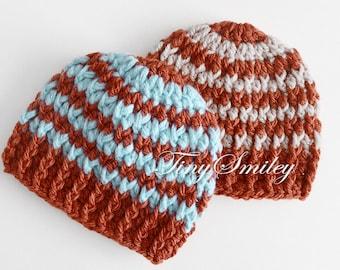 Twin Boys Hats, Baby Twin Hats, Twin Baby Boy Hats, Newborn Twin Hats, Crochet Twin Hats, Striped Twin Hats, Baby Boy Twins, Hospital Hats