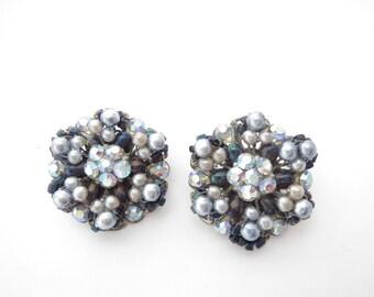 West Germany Vintage Cluster Clip Earrings 1950s