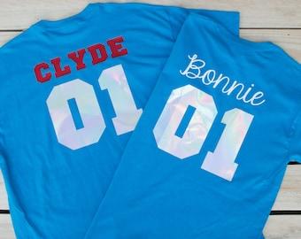 Bonnie Clyde Set Cute Couple Shirt Couples T Shirt Engagement Gift Matching Shirt for Couple T-shirts Set Parchen T-Shirts Wedding Gift