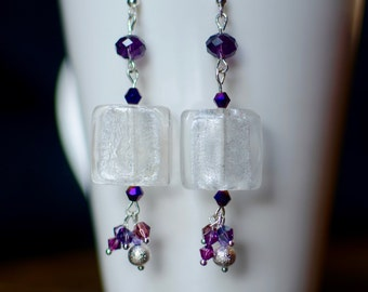 Chunky Glass Drop Earrings with Purple Swarovski Crystal Cluster