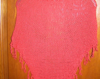 Handmade Knit Poncho Red With Shimmer - FREE SHIPPING