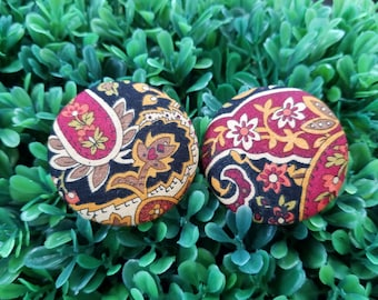 Old Times- Handmade Fabric Button Earrings