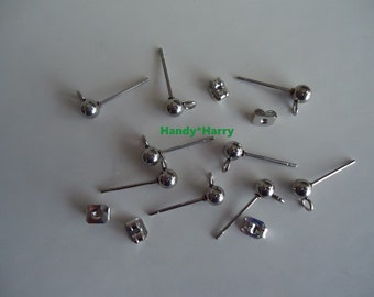 Stainless Steel Ball Post Earstuds Includes Stainless Steel Ear Nuts 12mm Pin 0.8mm Hole 2mm Choice 25PRS OR 50 PRS Ball Ear Posts with Loop