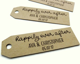 50 Wedding Tags - Personalized Tag - Custom Wedding Favor Tags - 2.5 in. x 0.75 in. - Kraft Tags - Custom Wedding Tags - Favor Tag - Paper