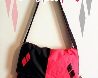 Harlequinn messenger bag, padded and reversible