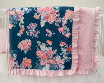 Navy Floral  Pink Coral Purple Baby Crib Cot Blanket with Optional Name Embroidery