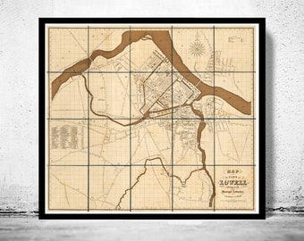 Old Map of Lowell Massachusetts 1841 Vintage map