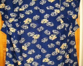 Kimono Vintage Japanese Indigo Kinsha Silk Kimono Fine Katazome Fans w Flowers Vintage Kinsha Deep Navy Blue Katazome Japanese Silk Kimono