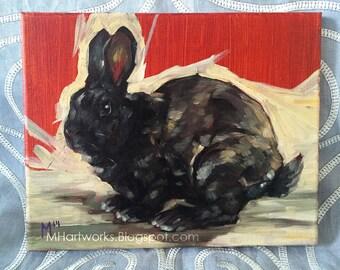 Original Oil Painting: Black Rabbit