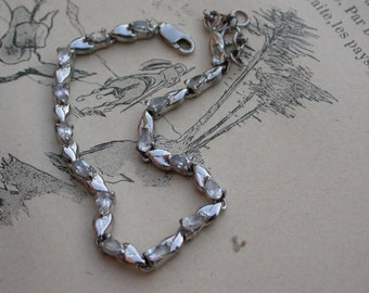 French vintage sterling silver teardrop cut white crystal bracelet stamped solid silver