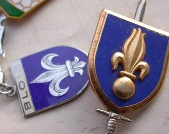 5PCS French vintage coat of arm cross enamel solid bronze sword Key ring military medal soldier medal Lys flower enamel Paris
