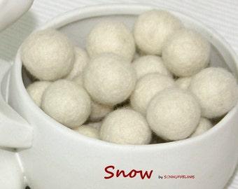 Felt Balls, Felt Beads, Pom Poms, Wool Beads , Color Snow WHITE , Sizes 1.0 cm, 1.5 cm, 2.0 cm, 2.5 cm, 3.0 cm, 4.0 cm