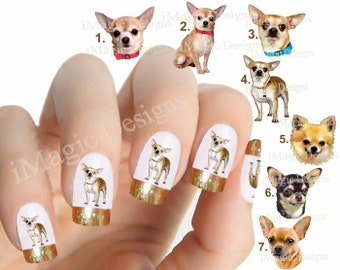 Nail Decals, Water Slide Nail Transfers, Nail Stickers, Dogs Photo Shoot - Chihuahua