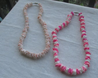 Lot Of Retro Colorful Seashell Chip Necklaces