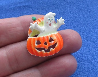 Retro Halloween Jack O Lantern Ghost Lapel Pin Loose Pin Repair
