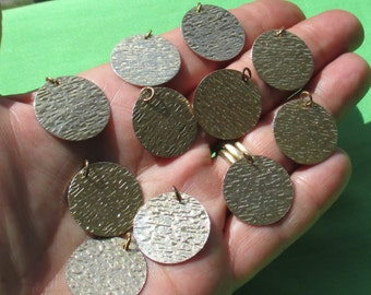 Lot Of  Salvaged Round Metal Textured Dangles
