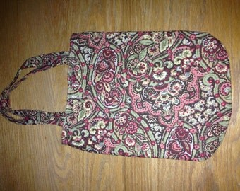 Paisley tote with contrast stripe liner