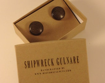 Historical Cufflinks made from wood of the Lake Erie Shipwreck Gulnare
