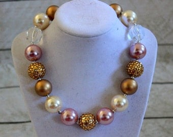 pink and gold necklace chunky bubblegum bead necklace pink and gold birthday beaded necklace flower girl necklace chunky bead photo prop