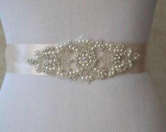 SALE - Wedding Belt, Bridal Belt, Sash Belt, Crystal Rhinestone, Blush Satin Sash