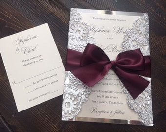 sample metallic doilies wedding invitation suite with ribbon bow - Wedding Invitation Belly Band