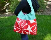 XL Reversible Hobo Style Handbag-Beach Bag-Pool Bag-Catch All Bag-Weekend Bag-2 Pockets-Handmade-FREE SHIPPING