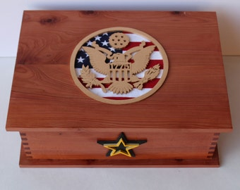 Army Keepsake Box - Handmade With Solid Wood - Basic Training Or Deployment Box For Letters And Gifts - Army Letterbox Keepsake Gift