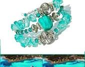 Turquoise Lampwork Wrap bracelet, Aqua Bohemian Glass bead bracelet, Boho Wrap bracelet, Beach bracelet, Memory Wire Cuff, Costa Smeralda