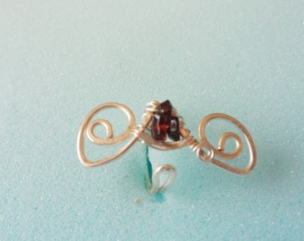 Adjustable Garnet and Copper Wire Wrapped Ring