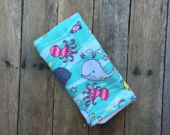 Baby Burp Cloth | Sea Creature | Whales | Octopus | Extra Large | Oversized| Flannel and Terry Cloth | Baby Boy | Baby Girl | Dish Towel