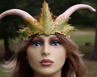 leather green and yellow horned head piece