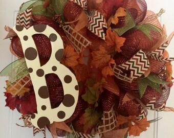 Monogram Fall Wreath (22 inches) - Custom Order