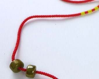 Primaries Necklace in Robin's Egg Variation with Glass-Bronze Beads