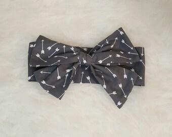 Arrows Headwrap - Turban - Toddler - Boho Baby - Big Bow - Bohemian Baby - handmade - Wild and Free - grey