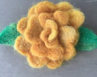 Golden Yellow Wool Felted Rose Pin