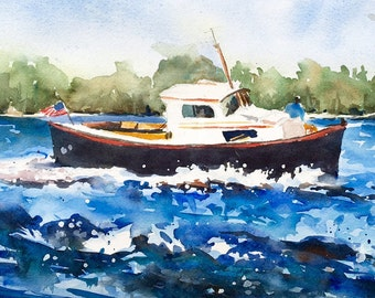 "Full Speed Ahead wooden boat lake waves fishing 9 x 14"""