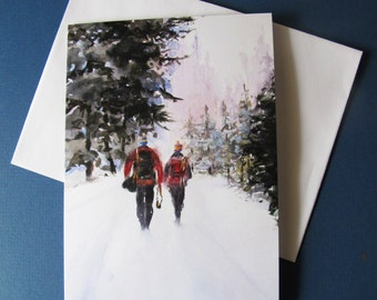 Holiday greeting cards set of 4 Hikers snow winter art 5 x 7